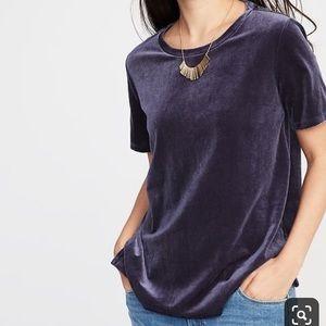 Old Navy Navy Blue Velvet Shirt Sleeved Tee